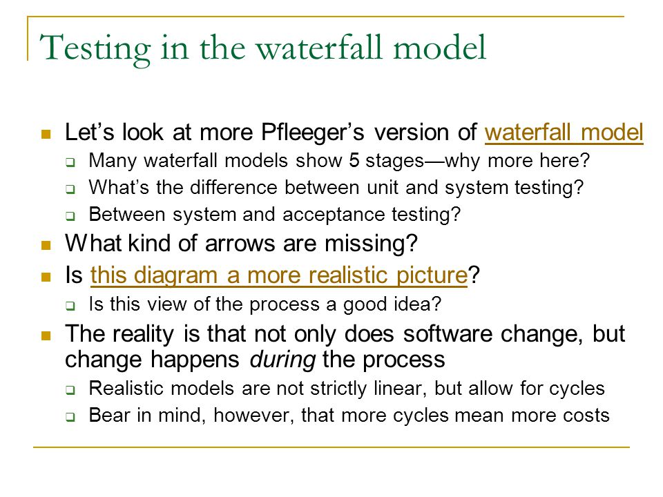 Testing in the waterfall model Let's look at more Pfleeger's version of waterfall modelwaterfall model  Many waterfall models show 5 stages—why more here.