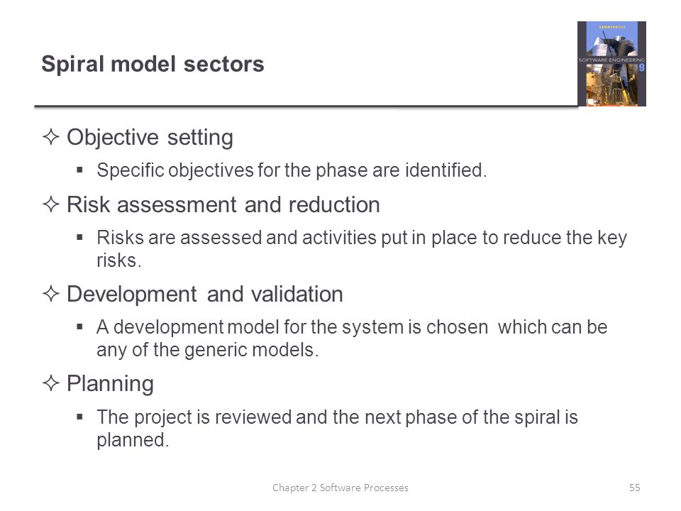 Spiral model sectors  Objective setting  Specific objectives for the phase are identified.
