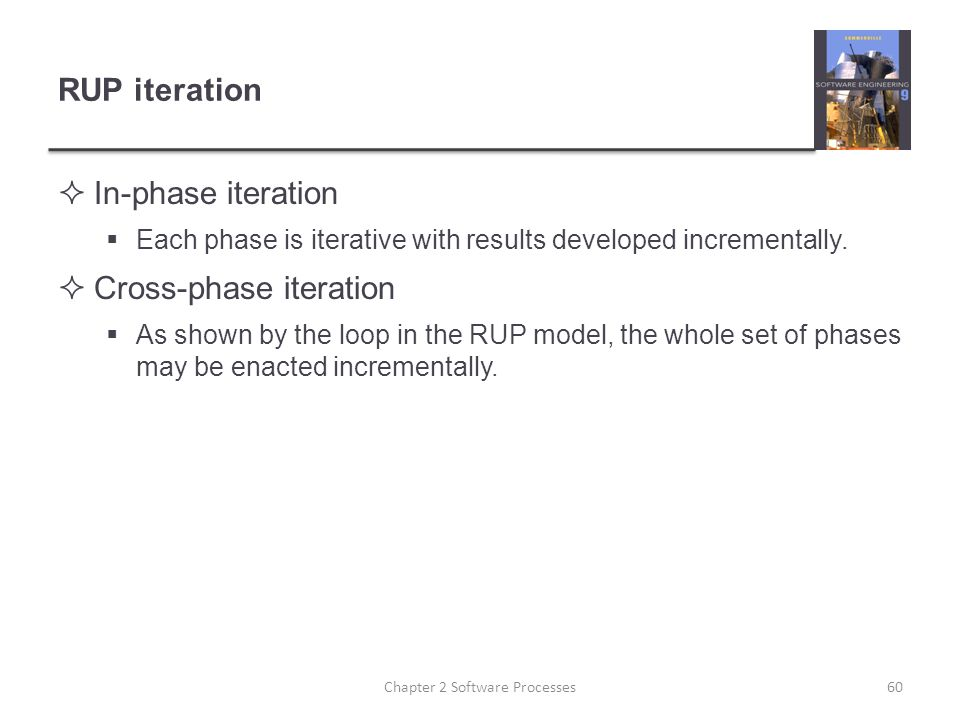 RUP iteration  In-phase iteration  Each phase is iterative with results developed incrementally.