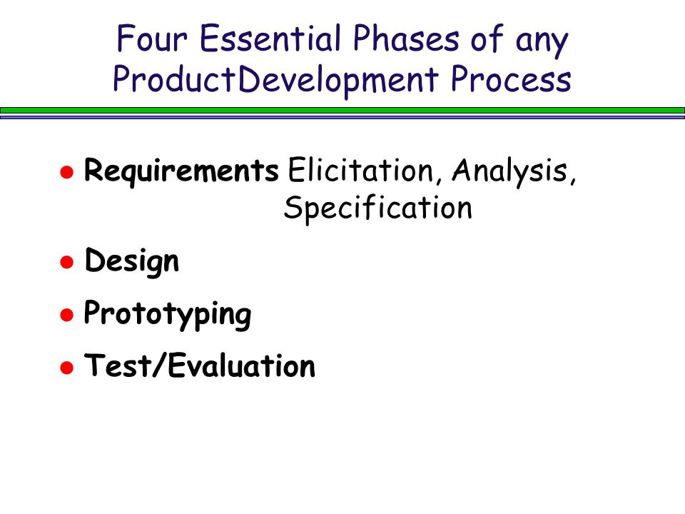 Four Essential Phases of any ProductDevelopment Process Requirements Elicitation, Analysis, Specification Design Prototyping Test/Evaluation