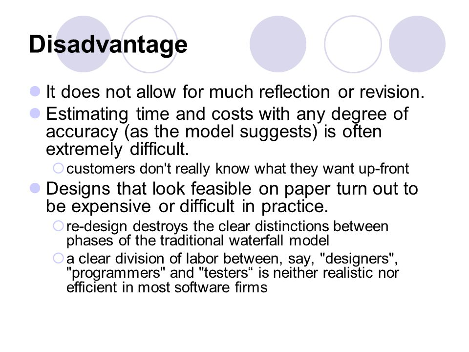 Disadvantage It does not allow for much reflection or revision.