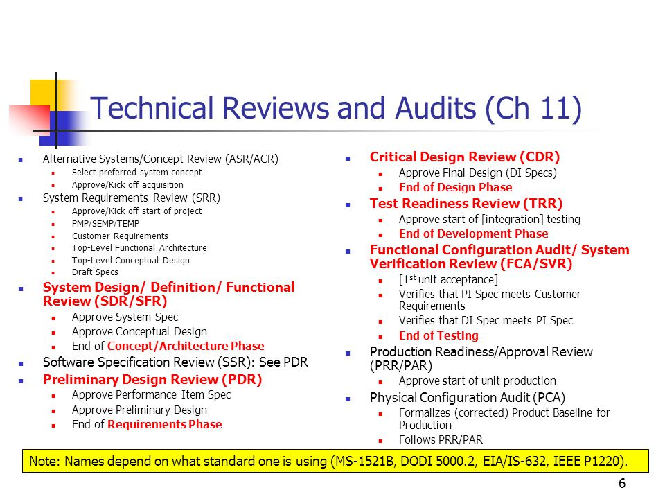 6 Technical Reviews and Audits (Ch 11) Alternative Systems/Concept Review (ASR/ACR) Select preferred system concept Approve/Kick off acquisition System Requirements Review (SRR) Approve/Kick off start of project PMP/SEMP/TEMP Customer Requirements Top-Level Functional Architecture Top-Level Conceptual Design Draft Specs System Design/ Definition/ Functional Review (SDR/SFR) Approve System Spec Approve Conceptual Design End of Concept/Architecture Phase Software Specification Review (SSR): See PDR Preliminary Design Review (PDR) Approve Performance Item Spec Approve Preliminary Design End of Requirements Phase Critical Design Review (CDR) Approve Final Design (DI Specs) End of Design Phase Test Readiness Review (TRR) Approve start of [integration] testing End of Development Phase Functional Configuration Audit/ System Verification Review (FCA/SVR) [1 st unit acceptance] Verifies that PI Spec meets Customer Requirements Verifies that DI Spec meets PI Spec End of Testing Production Readiness/Approval Review (PRR/PAR) Approve start of unit production Physical Configuration Audit (PCA) Formalizes (corrected) Product Baseline for Production Follows PRR/PAR Note: Names depend on what standard one is using (MS-1521B, DODI 5000.2, EIA/IS-632, IEEE P1220).