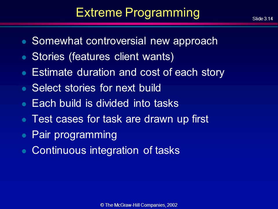 Slide 3.14 © The McGraw-Hill Companies, 2002 Extreme Programming l Somewhat controversial new approach l Stories (features client wants) l Estimate duration and cost of each story l Select stories for next build l Each build is divided into tasks l Test cases for task are drawn up first l Pair programming l Continuous integration of tasks