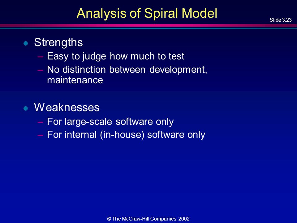 Slide 3.23 © The McGraw-Hill Companies, 2002 Analysis of Spiral Model l Strengths –Easy to judge how much to test –No distinction between development, maintenance l Weaknesses –For large-scale software only –For internal (in-house) software only