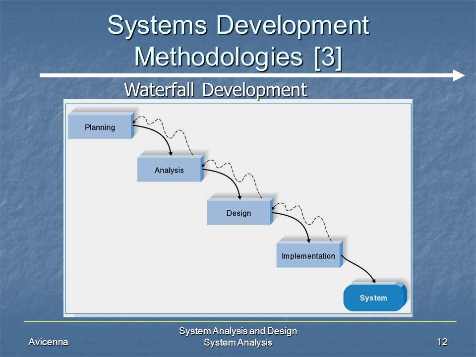 Avicenna System Analysis and Design System Analysis12 Systems Development Methodologies [3] Waterfall Development