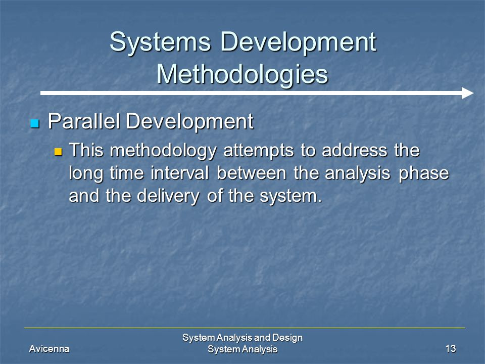 Avicenna System Analysis and Design System Analysis13 Systems Development Methodologies Parallel Development Parallel Development This methodology att