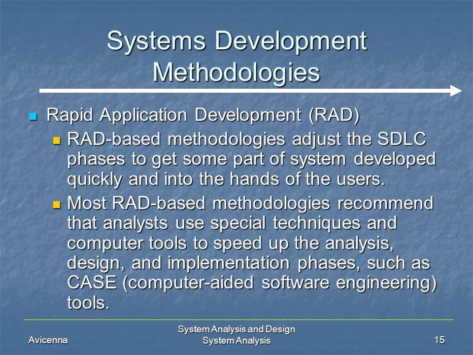 Avicenna System Analysis and Design System Analysis15 Systems Development Methodologies Rapid Application Development (RAD) Rapid Application Developm