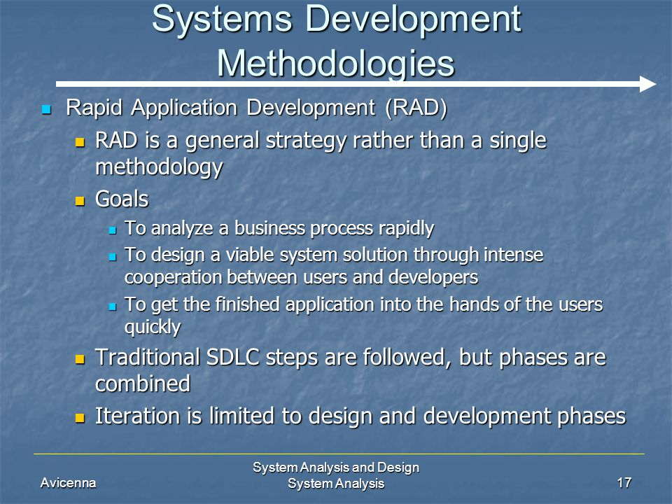 Avicenna System Analysis and Design System Analysis17 Systems Development Methodologies Rapid Application Development (RAD) Rapid Application Developm