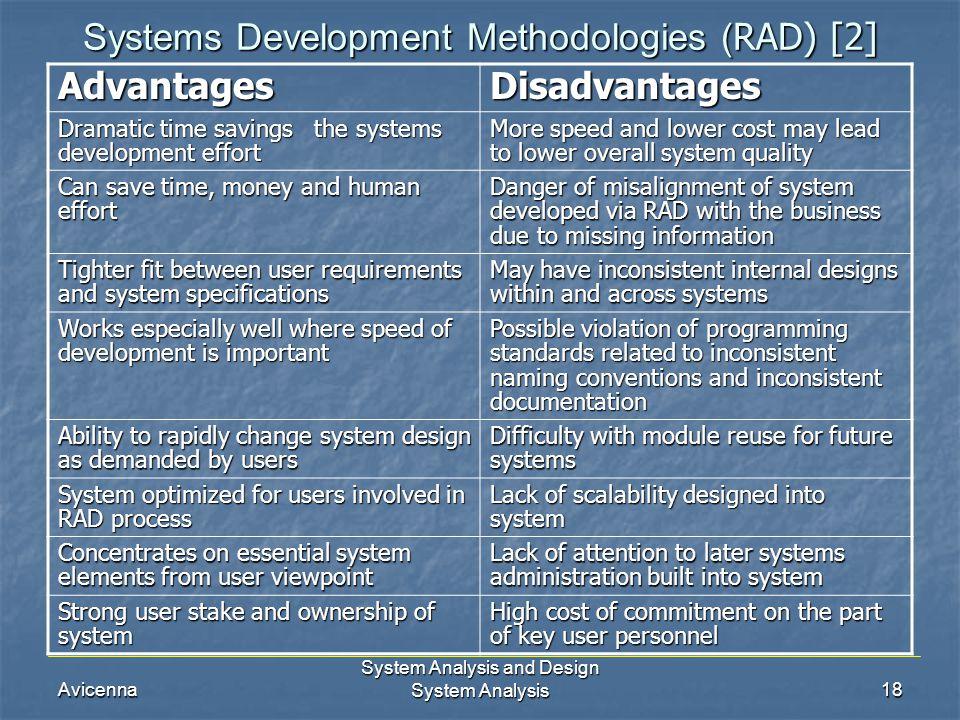 Avicenna System Analysis and Design System Analysis18 Systems Development Methodologies ( RAD) [2] AdvantagesDisadvantages Dramatic time savings the s