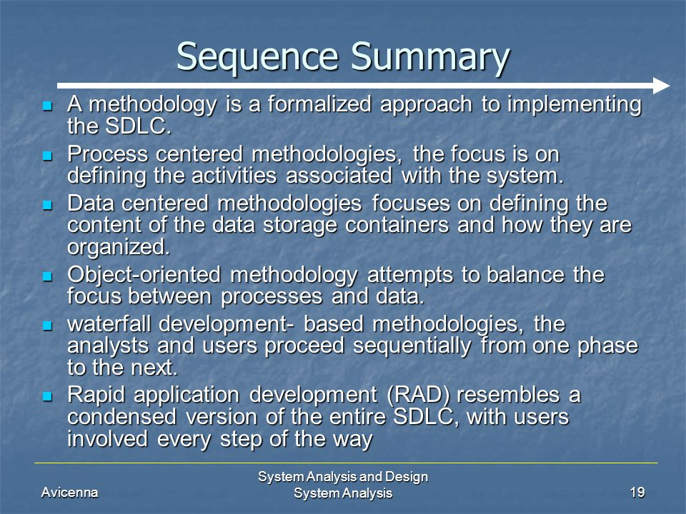 Avicenna System Analysis and Design System Analysis19 Sequence Summary A methodology is a formalized approach to implementing the SDLC. A methodology