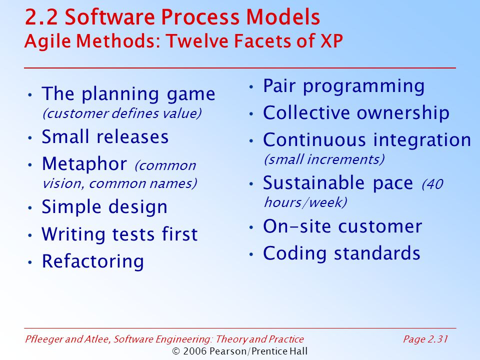 Pfleeger and Atlee, Software Engineering: Theory and PracticePage 2.31 © 2006 Pearson/Prentice Hall 2.2 Software Process Models Agile Methods: Twelve Facets of XP The planning game (customer defines value) Small releases Metaphor (common vision, common names) Simple design Writing tests first Refactoring Pair programming Collective ownership Continuous integration (small increments) Sustainable pace (40 hours/week) On-site customer Coding standards