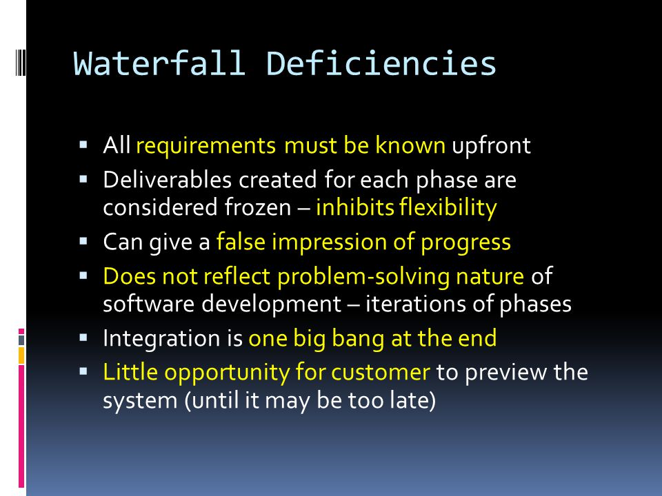 When to use the Waterfall Model  Requirements are very well known  Product definition is stable  Technology is understood  New version of an existing product  Porting an existing product to a new platform.