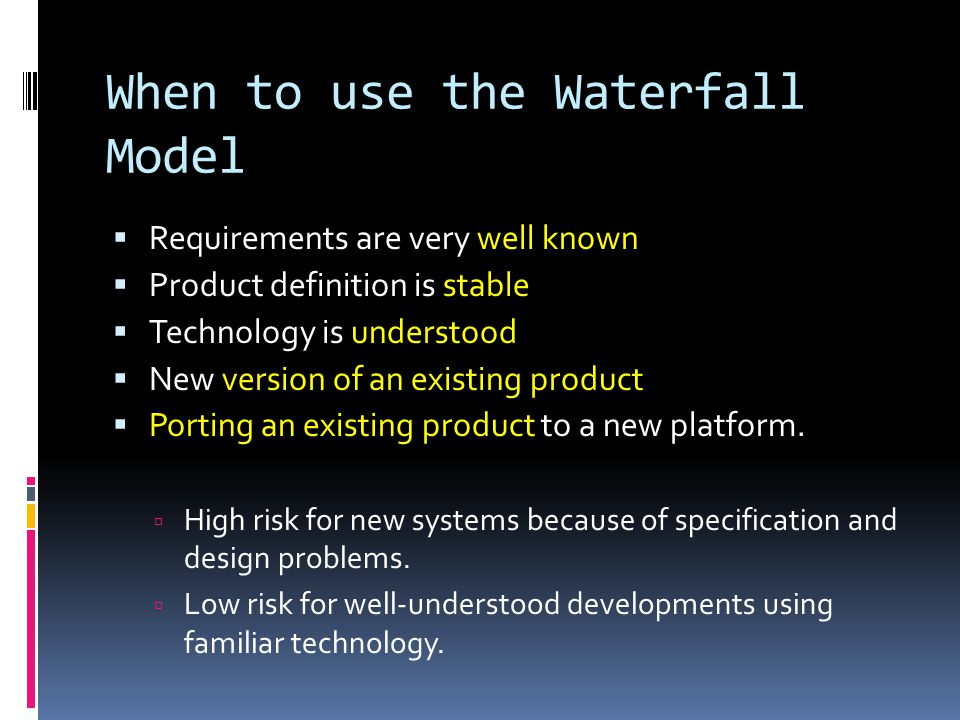 V-Shaped SDLC Model  A variant of the Waterfall that emphasizes the verification and validation of the product.
