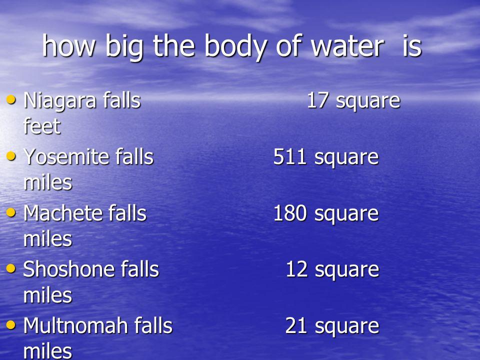 height Niagara falls 86 feet Niagara falls 86 feet Yosemite falls 2425 feet Yosemite falls 2425 feet Malachite falls 1.600 2.450 Malachite falls 1.600 2.450 Shoshone falls 212 feet Shoshone falls 212 feet Multnomah falls 542 feet Multnomah falls 542 feet