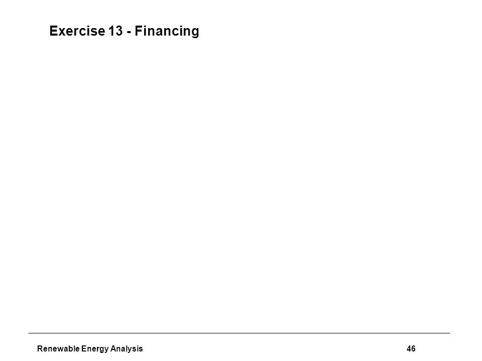 Renewable Energy Analysis46 Exercise 13 - Financing