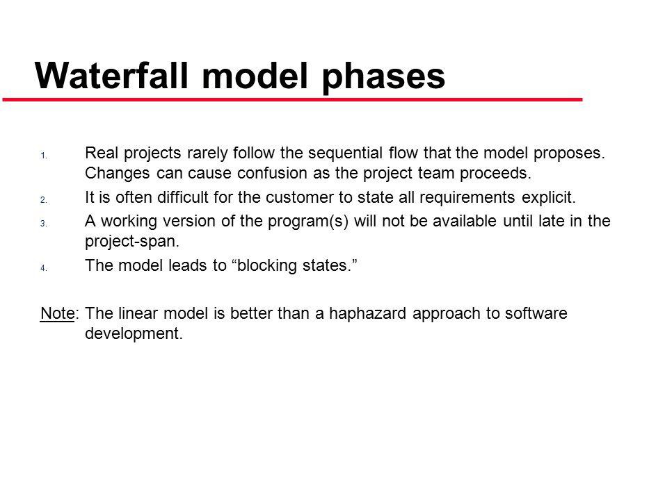 1.Real projects rarely follow the sequential flow that the model proposes.