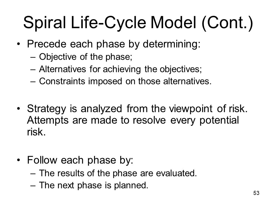 53 Spiral Life-Cycle Model (Cont.) Precede each phase by determining: –Objective of the phase; –Alternatives for achieving the objectives; –Constraint