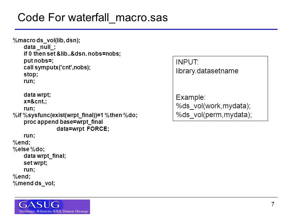 7 %macro ds_vol(lib, dsn); data _null_; if 0 then set &lib..&dsn.