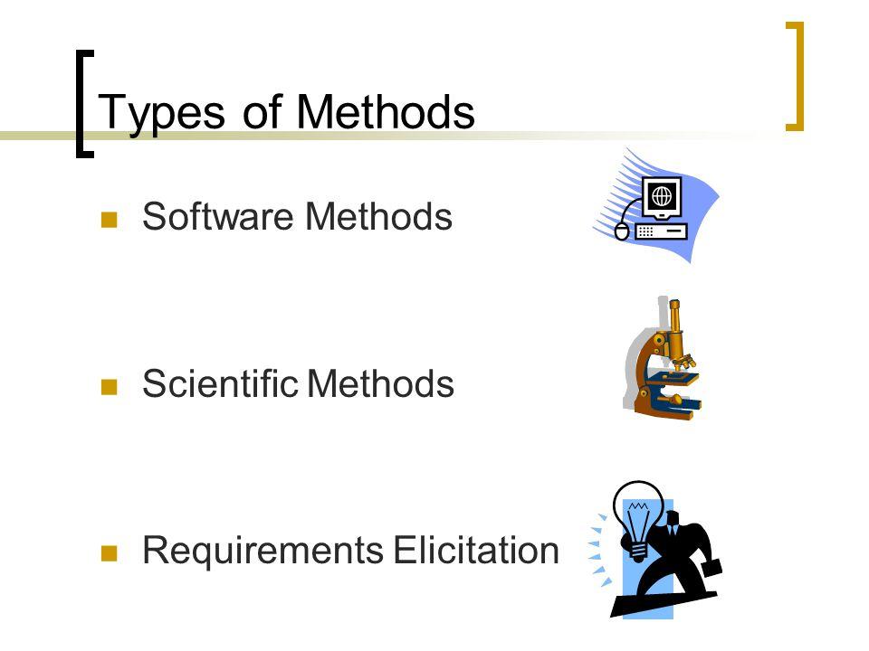 Types of Methods Software Methods Scientific Methods Requirements Elicitation