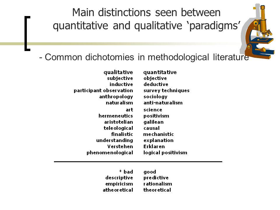 - Common dichotomies in methodological literature Main distinctions seen between quantitative and qualitative 'paradigms'