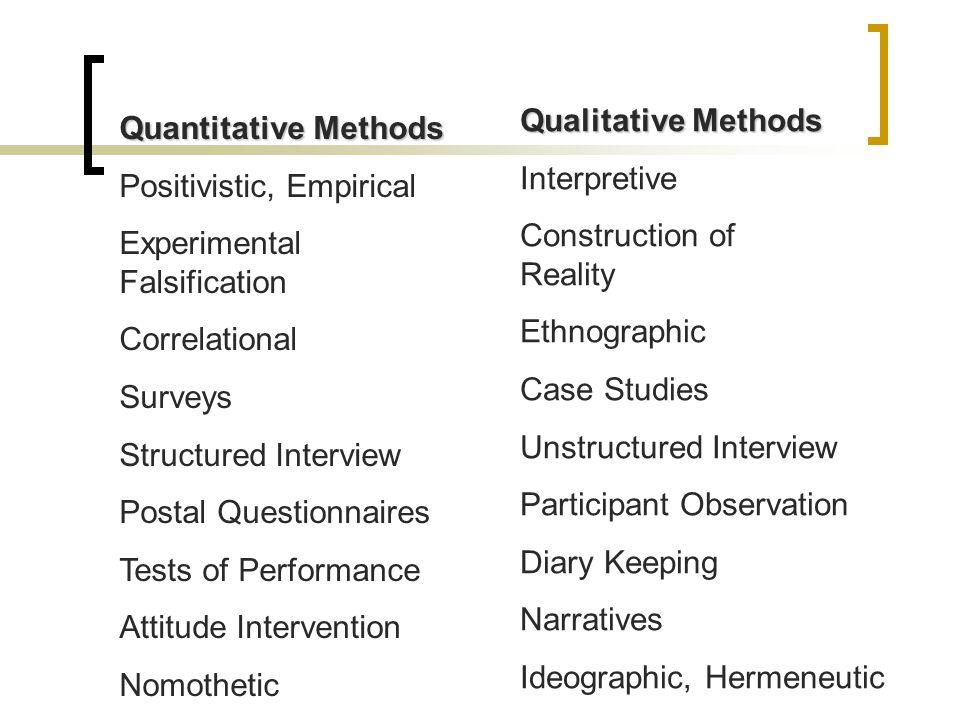 Quantitative Methods Positivistic, Empirical Experimental Falsification Correlational Surveys Structured Interview Postal Questionnaires Tests of Perf