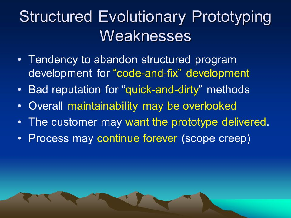 "Structured Evolutionary Prototyping Weaknesses Tendency to abandon structured program development for ""code-and-fix"" development Bad reputation for ""q"