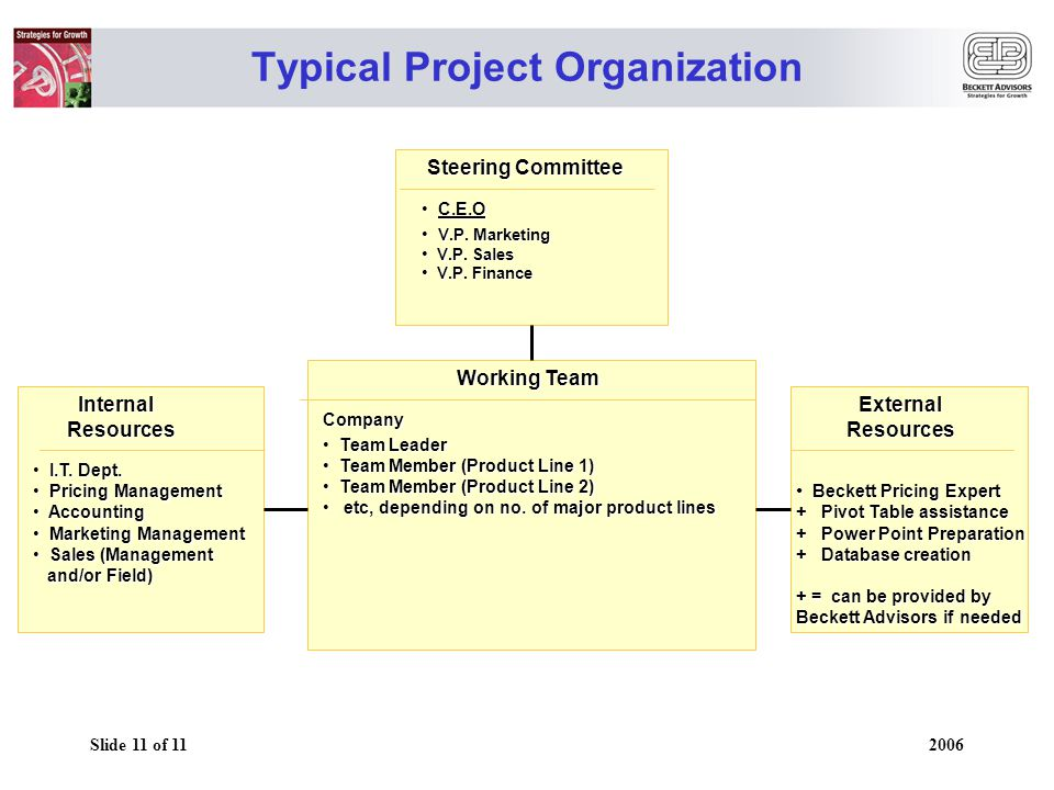 Slide 11 of 11 2006 Typical Project Organization Steering Committee Steering Committee C.E.O C.E.O V.P.