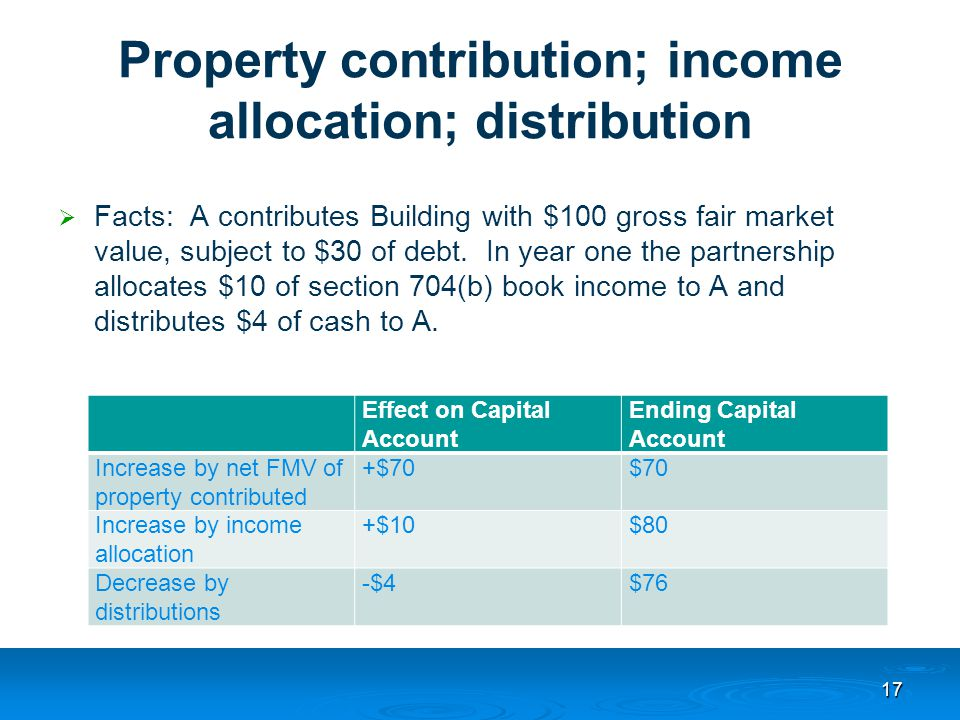Property contribution; income allocation; distribution  Facts: A contributes Building with $100 gross fair market value, subject to $30 of debt.