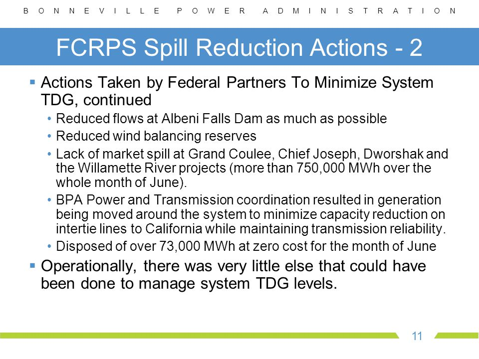 B O N N E V I L L E P O W E R A D M I N I S T R A T I O N 11 FCRPS Spill Reduction Actions - 2  Actions Taken by Federal Partners To Minimize System TDG, continued Reduced flows at Albeni Falls Dam as much as possible Reduced wind balancing reserves Lack of market spill at Grand Coulee, Chief Joseph, Dworshak and the Willamette River projects (more than 750,000 MWh over the whole month of June).