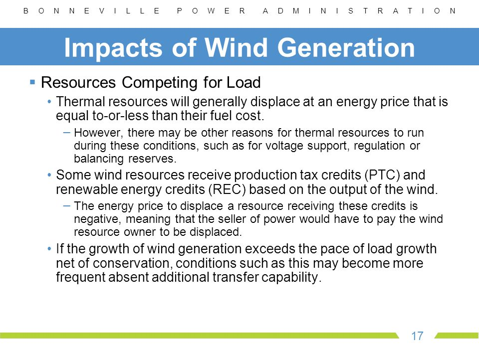 B O N N E V I L L E P O W E R A D M I N I S T R A T I O N 17 Impacts of Wind Generation  Resources Competing for Load Thermal resources will generally displace at an energy price that is equal to-or-less than their fuel cost.