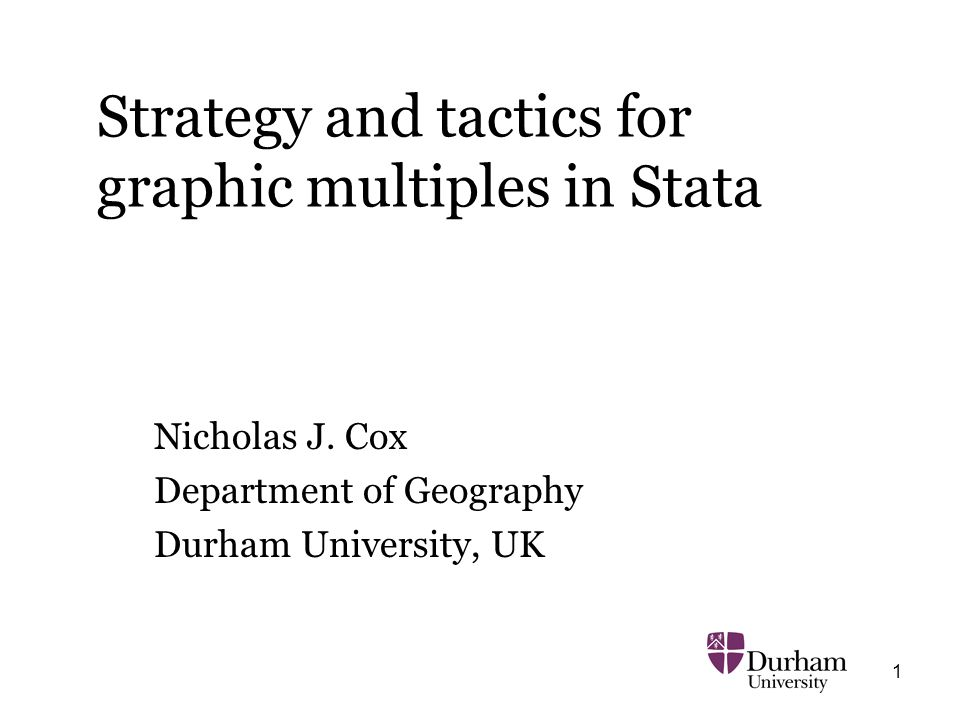 1 Strategy and tactics for graphic multiples in Stata Nicholas J. Cox Department of Geography Durham University, UK