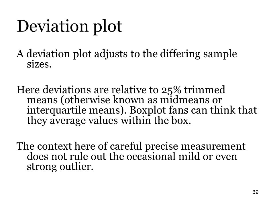 39 Deviation plot A deviation plot adjusts to the differing sample sizes. Here deviations are relative to 25% trimmed means (otherwise known as midmea