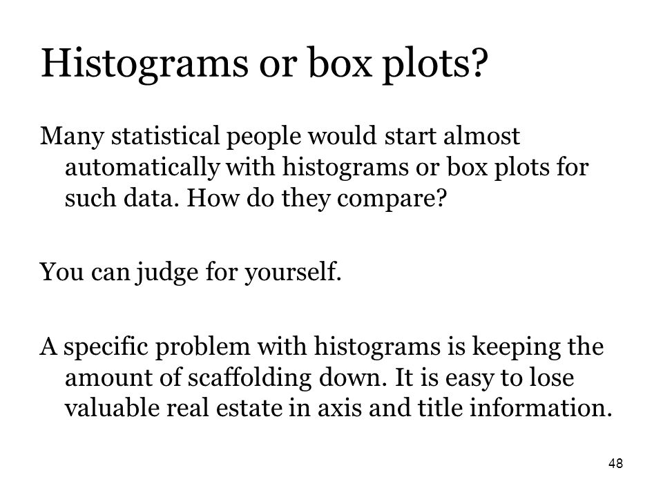 48 Histograms or box plots? Many statistical people would start almost automatically with histograms or box plots for such data. How do they compare?