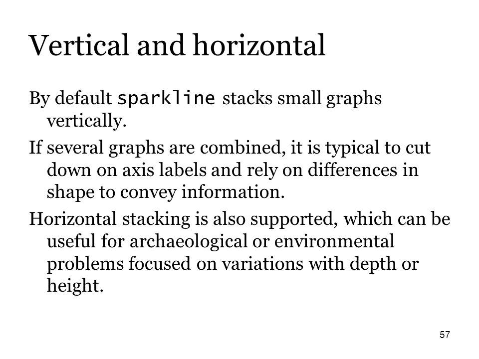 57 Vertical and horizontal By default sparkline stacks small graphs vertically. If several graphs are combined, it is typical to cut down on axis labe
