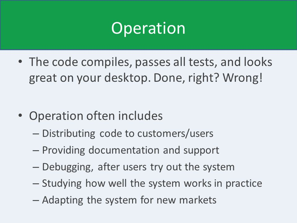 Operation The code compiles, passes all tests, and looks great on your desktop.