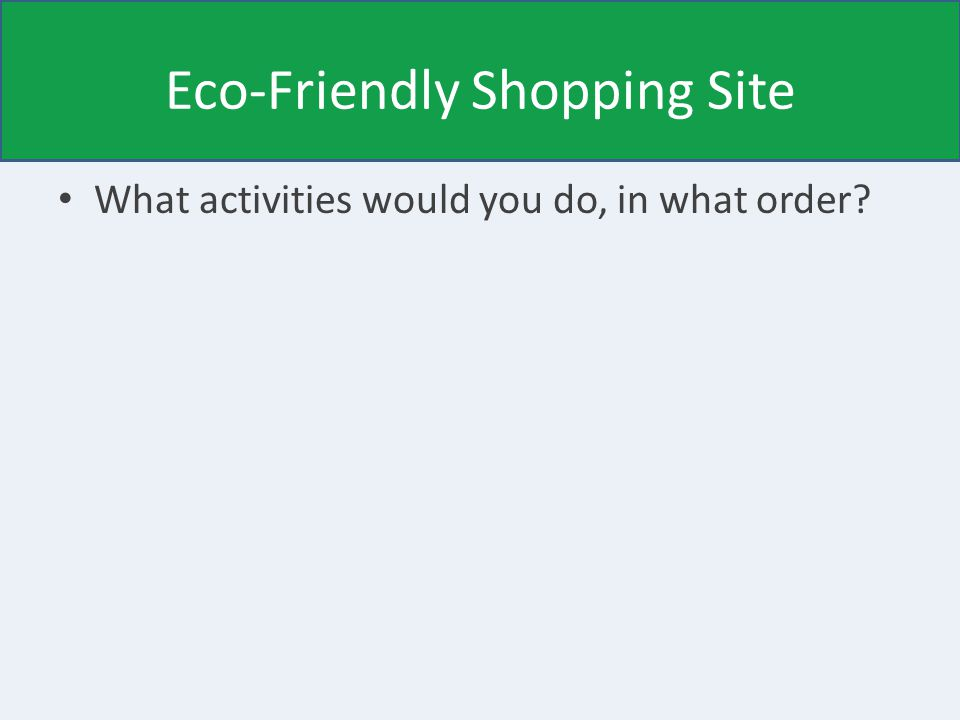 Eco-Friendly Shopping Site What activities would you do, in what order