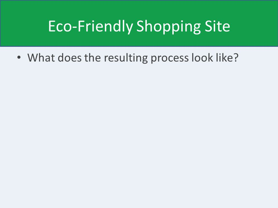 Eco-Friendly Shopping Site What does the resulting process look like