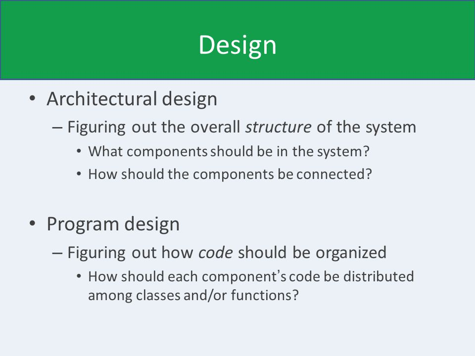 Design Architectural design – Figuring out the overall structure of the system What components should be in the system.