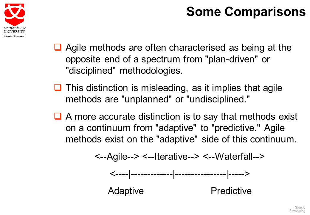 6 Staffordshire UNIVERSITY School of Computing Slide: 6 Prototyping Some Comparisons  Agile methods are often characterised as being at the opposite end of a spectrum from plan-driven or disciplined methodologies.