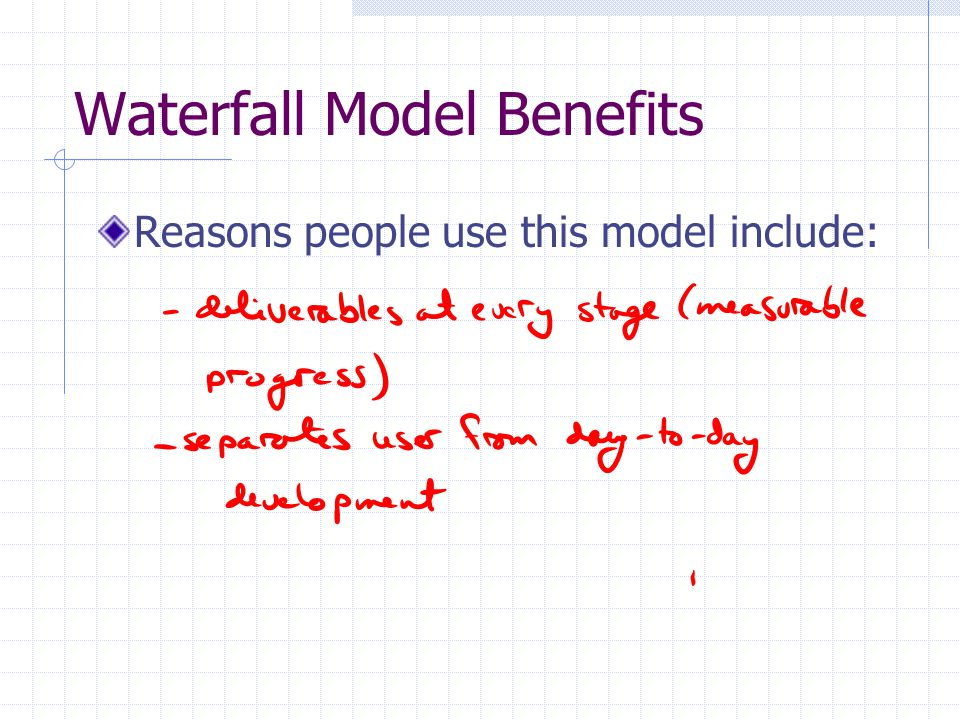 Waterfall Model Benefits Reasons people use this model include: