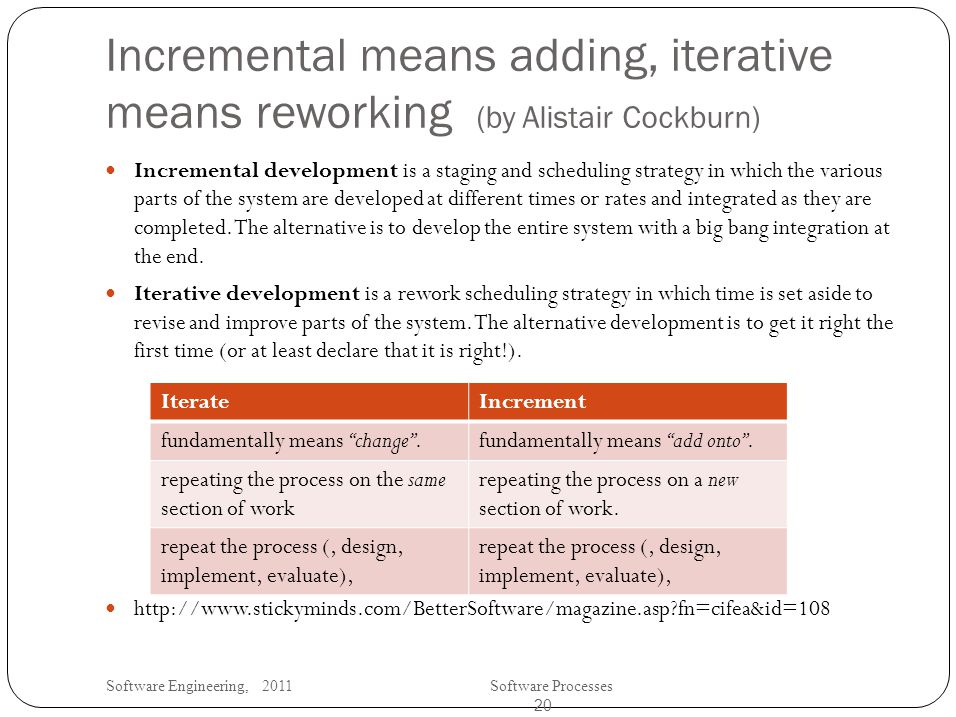 Software Engineering, 2011Software Processes 20 Incremental means adding, iterative means reworking (by Alistair Cockburn) Incremental development is a staging and scheduling strategy in which the various parts of the system are developed at different times or rates and integrated as they are completed.
