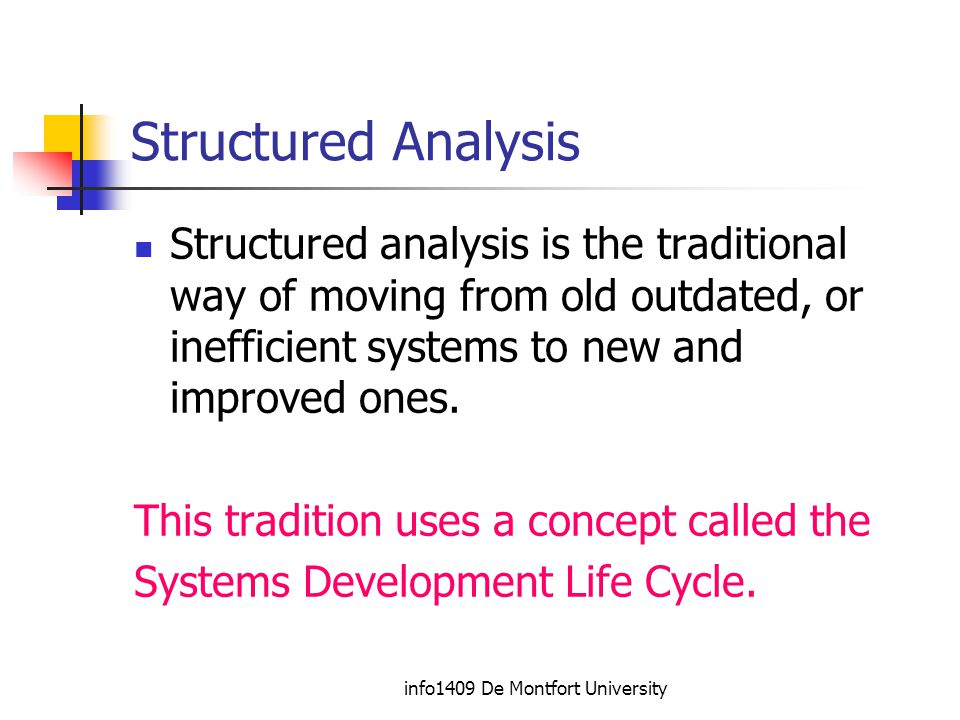info1409 De Montfort University Structured Analysis Structured analysis is the traditional way of moving from old outdated, or inefficient systems to new and improved ones.