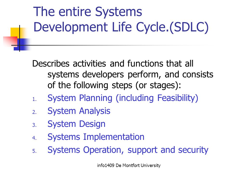 info1409 De Montfort University The entire Systems Development Life Cycle.(SDLC) Describes activities and functions that all systems developers perform, and consists of the following steps (or stages): 1.