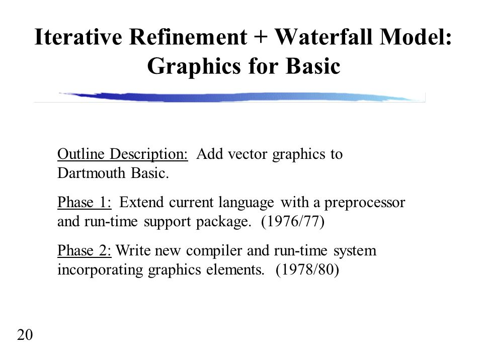 20 Iterative Refinement + Waterfall Model: Graphics for Basic Outline Description: Add vector graphics to Dartmouth Basic.