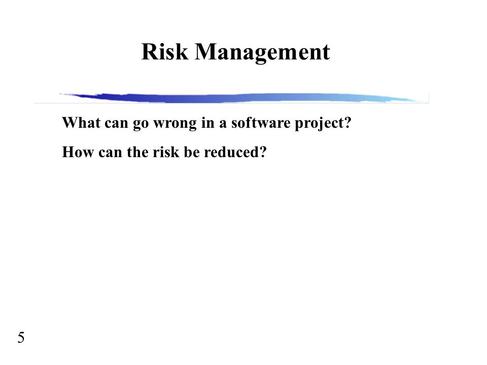 5 Risk Management What can go wrong in a software project? How can the risk be reduced?