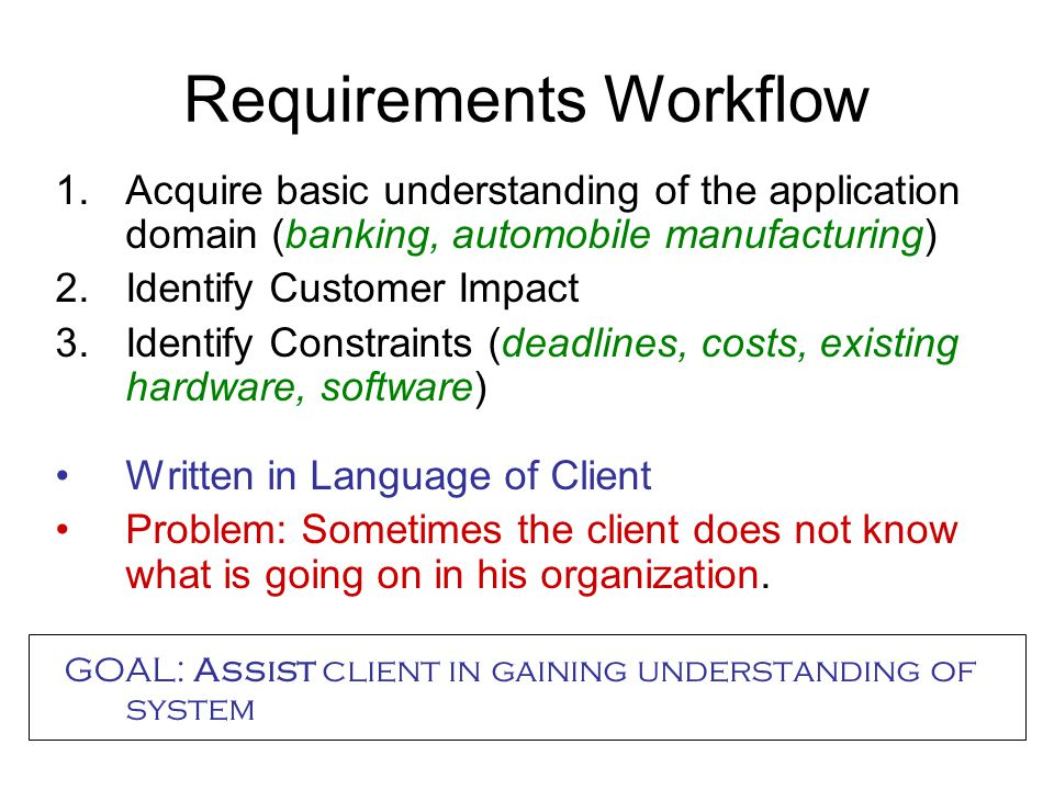 Requirements Workflow 1.Acquire basic understanding of the application domain (banking, automobile manufacturing) 2.Identify Customer Impact 3.Identify Constraints (deadlines, costs, existing hardware, software) Written in Language of Client Problem: Sometimes the client does not know what is going on in his organization.