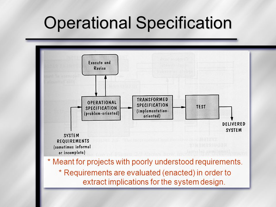 Operational Specification * Meant for projects with poorly understood requirements. * Requirements are evaluated (enacted) in order to extract implica