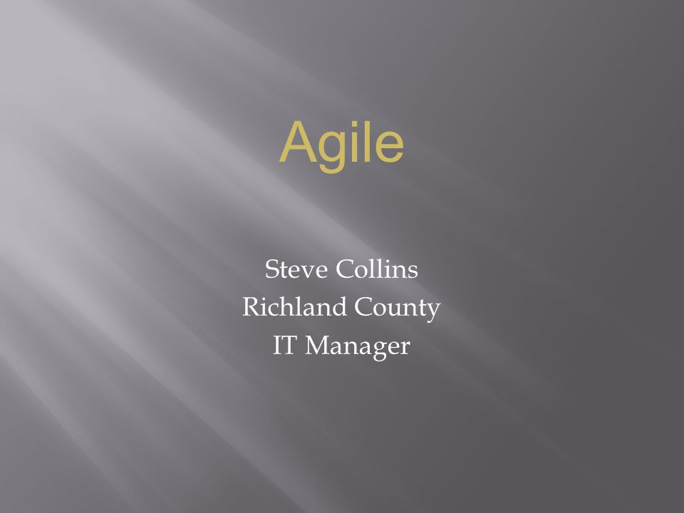 Steve Collins Richland County IT Manager Agile