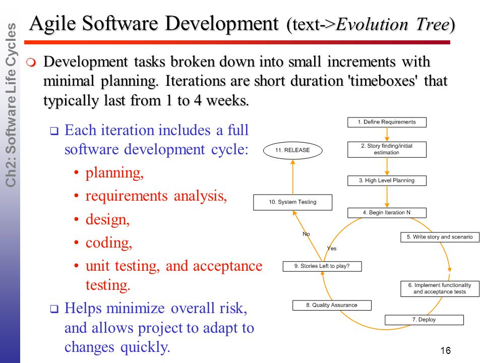 Ch2: Software Life Cycles 16 Agile Software Development (text->Evolution Tree)  Development tasks broken down into small increments with minimal planning.