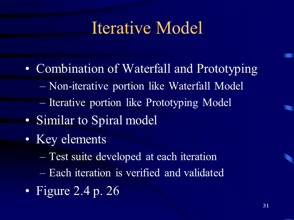 31 Iterative Model Combination of Waterfall and Prototyping –Non-iterative portion like Waterfall Model –Iterative portion like Prototyping Model Simi